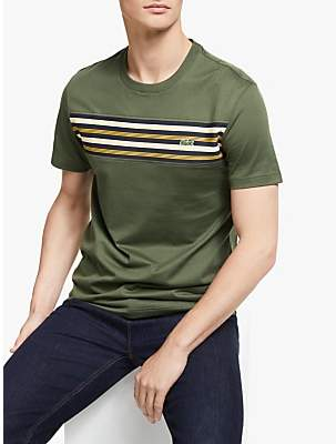 Lacoste Crew Contrast Striped Panel T-Shirt, Baobab