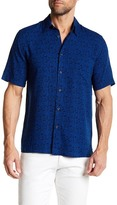 Toscano Leaf Print Short Sleeve Regular Fit Shirt