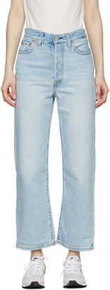 Levi's Blue Washed Ribcage Straight Ankle Jeans