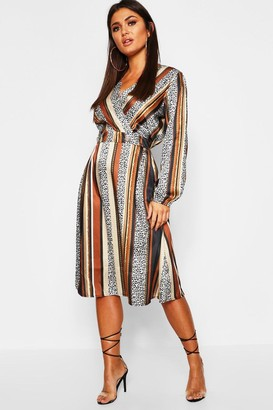boohoo Leopard Stripe Button Front Midi Dress