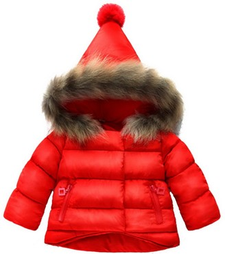 Haokaini Winter Warm Coat for 3-12 Years Baby Girl Boy Floral Hooded Windproof Jacket with Faux Fur Cotton Parka Padded Overcoat