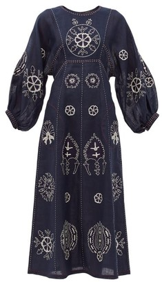 Vita Kin Jasmine Embroidered Linen Midi Dress - Navy White