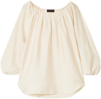 Hatch Gathered Satin-crepe Blouse
