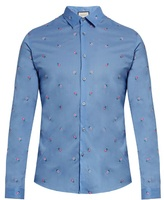Gucci Flower-embroidered Cotton Shirt