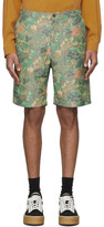 Hope Green and Brown Linen Guard Shorts