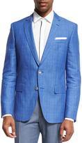 BOSS Plaid Linen-Cotton Sport Coat, Blue