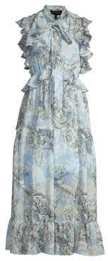 Robert Rodriguez Women's Clara Floral Ruffle A-Line Midi Dress - Blue Floral - Size 0