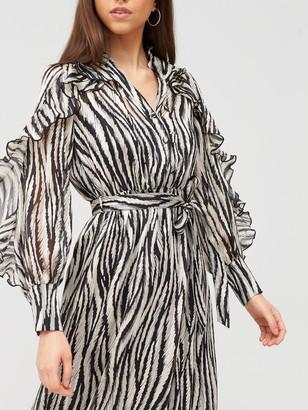 River Island Ruffle Shirt Midi Dress - Mono Print