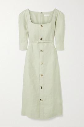 REJINA PYO Leonie Button-embellished Linen Midi Dress - Gray green