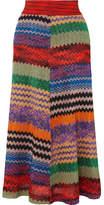 Missoni Metallic Crochet-knit Midi Skirt - Red