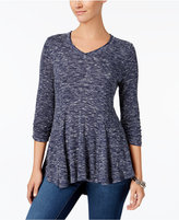 Style&Co. Style & Co Petite Ruched Space-Dyed Top, Created for Macy's
