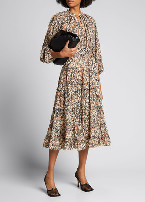 Ulla Johnson Anzu Marbled Cotton Tie-Waist Midi Dress