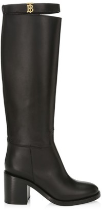 Burberry TB Monogram Knee-High Leather Boots