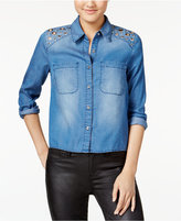 Material Girl Juniors' Grommet Split-Back Chambray Shirt, Only at Macy's