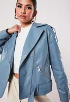 Missguided Blue Croc Faux Leather Biker Jacket
