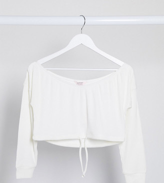 Miss Selfridge Petite off the shoulder blouse in ivory