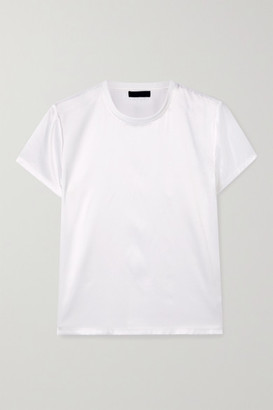 ATM Anthony Thomas Melillo Silk-blend Satin T-shirt - White