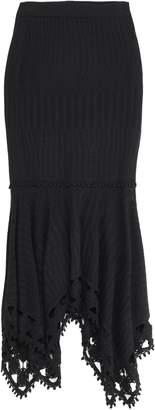 Jonathan Simkhai Asymmetric Pointelle-knit Modal And Cotton-blend Skirt
