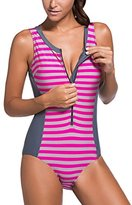 Sidefeel Women One Piece Swimsuit Monokini Zipper Front Swimwear Large Grey