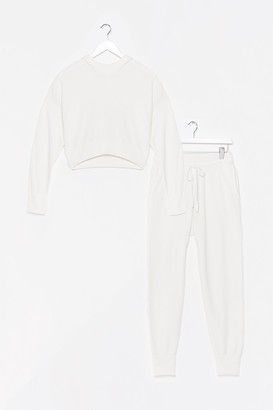Nasty Gal Womens Morning Meeting Knitted Ribbed Jogger Lounge Set - White - L