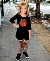 Beary Basics Black Pumpkin Bell-Sleeve Tee & Stripe Leggings - Toddler & Girls