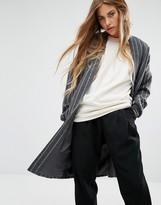 Noisy May Stripe Duster Coat