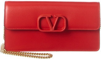 Valentino Vsling Leather Wallet On Chain