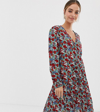 Y.A.S Petite Bright Ditsy Floral Tiered Dress