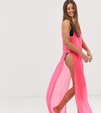 Glamorous Exclusive mesh beach dress in neon pink