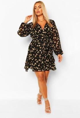 boohoo Plus Ruffle Hem Floral Mini Dress