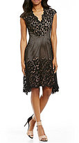 Maggy London V-Neck Cap Sleeve Asymmetrical Hem Lace Dress