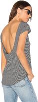 Bobi Drape Back Stripe Tee in Black & White. - size L (also in M,S,XS)