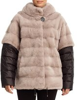 Gorski Horizontal Mink Jacket w/ Detachable Quilted Sleeves