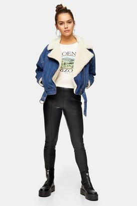 Topshop Womens Petite Black Straight Leg Faux Leather Leggings - Black