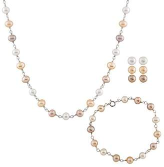 Bella Pearls Set of Multi-Coloured Pearl and Sterling Silver Earrings, Bracelet and Necklace