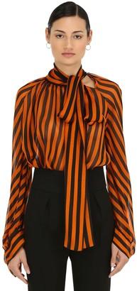 Petar Petrov Striped Sheer Silk Chiffon Blouse