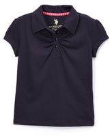 U.S. Polo Assn. Navy Ruched Cap-Sleeve Polo - Girls