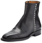 The Row Brion Flat Leather Ankle Boot, Black