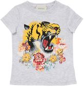 Gucci Tiger Printed Cotton Jersey T-Shirt