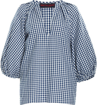 Martin Grant Gathered Gingham Top