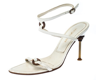 Sergio Rossi White Leather Ankle Strap Sandals Size 36.5