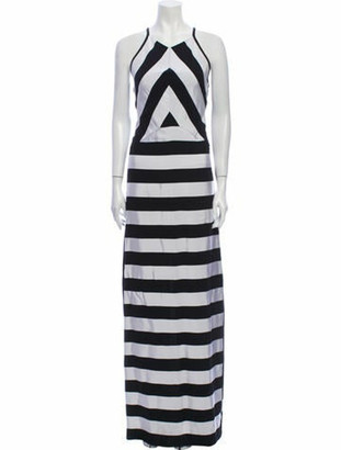 Kenzo Striped Long Dress Black