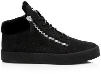 Giuseppe Zanotti Mid-Top Croc-Embossed Leather Sneakers