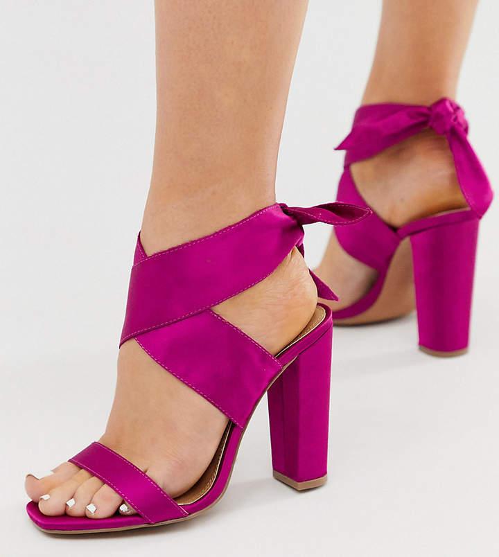 85e3ca528e6 Design DESIGN Wide Fit Wilderness tie leg block heeled sandals in fuschia