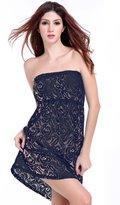 JOYHY Women's Strapless Crochet Swimsuit Cover-up Lace Beach Dress