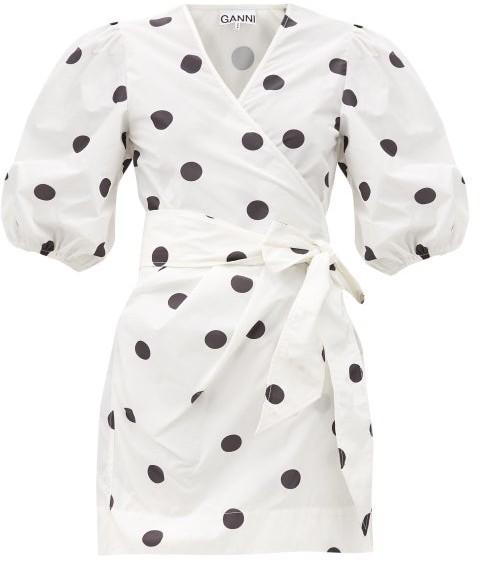 Ganni Puff-sleeved Polka-dot Recycled Polyester Dress - White Black
