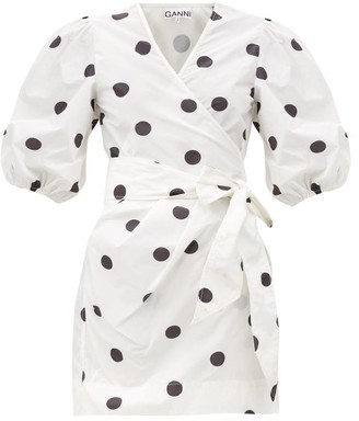 Ganni Puff-sleeved Polka-dot Recycled Polyester Dress - White Black