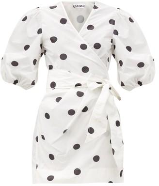 Ganni Puff-sleeved Polka-dot Wrap Dress - White Black