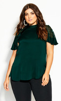 City Chic Lace Captivate Top - forest