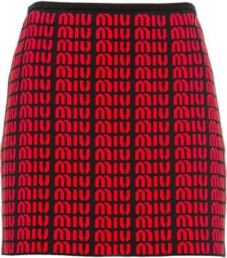 Miu Miu All-Over Logo Jacquard Miniskirt